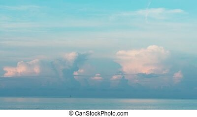 Morning seascape at Phuket, cumulus storm clouds over the...