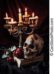 Gothic still life with skull - Still life with skull, dry...