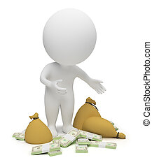 3d small people - money - 3d small people - packs of dollars...