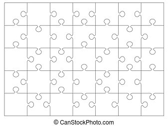 jigsaw outline background - Black and white jigsaw or puzzle...