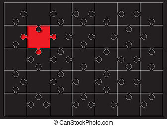 jigsaw outline missing - Black jigsaw puzzle with red...