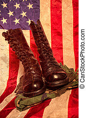 Combat Boots with Flag - A pair of combat foots and...