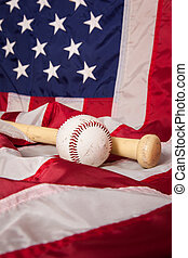 American Baseball - A baseball and bat with an American flag...