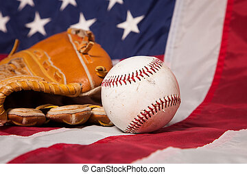 American Baseball - A baseball and glove with an American...