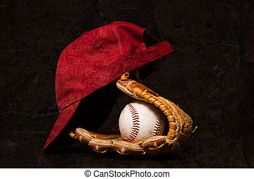 Baseball Time - A baseball and glove with a baseball cap on...