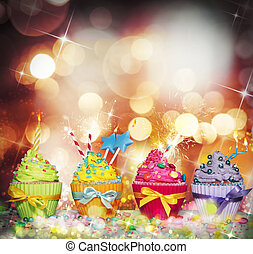 Cupcake party - Brilliant and glowing background with...