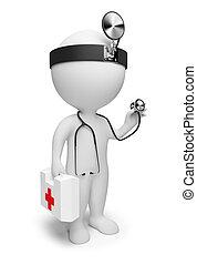 3D, pequeno, pessoas, -, doutor