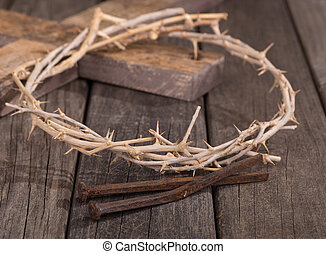 Crown of Thorns and Nails - Closeup of crown of thorns and...