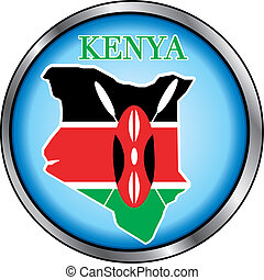 Kenya Round Button - Vector Illustration for Kenya, Round...