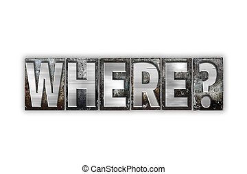 Where Concept Isolated Metal Letterpress Type