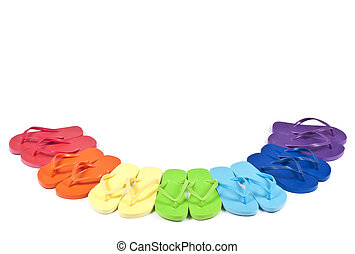 Colorful Flipflops - Rainbow Colored Flipflops Isolated on...