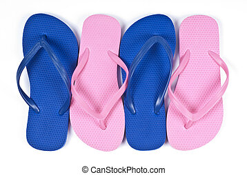 Colorful Flipflops Isolated on White