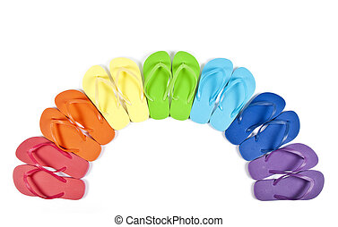 Colorful Flipflops - Rainbow Colors Flipflops Isolated on...