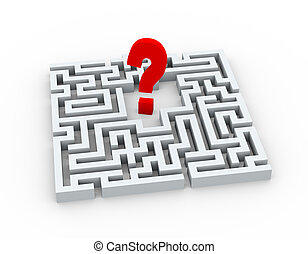 3d question mark symbol in the maze