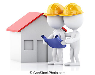 3d Two architect people with helmet, plans and house....