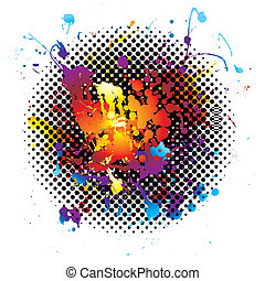 rainbow splatter grunge - ink splat background with rainbow...