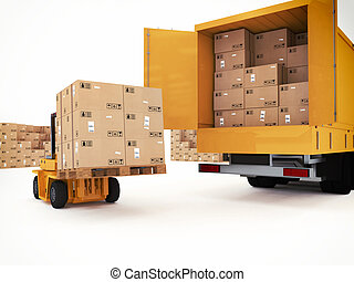 Prepare shipping - Loading stack of packed boxes on truck