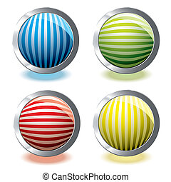 web icon stripe - Round web icons with stripes and glowing...