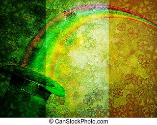 Leprechaun Hat Rainbow Grunge Flag Background - St Patricks...