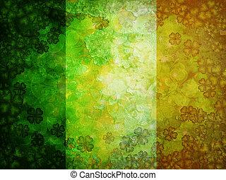 Shamrock Four Leaf Clover Grunge Flag Background - St...