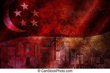 Singapore Skyline and Flag Grunge Background - Singapore...