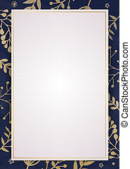 White paper background with drawing floras border - A4...