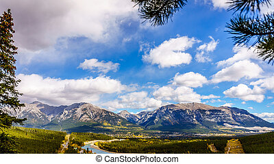 Grotto Mountain & Mt Lady MacDonald - The town of Canmore in...