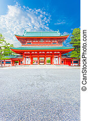 Heian Shrine Tower Gate Entrance Ro-Mon Blue Sky V - Front...