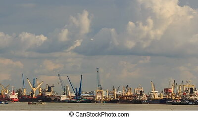 Large Cargo City Sea Port Working Cranes Boats Drift -...