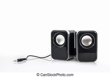 Small computer speakers. - Small computer speakers on white...