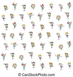 set of hand drawing cartoon happy kids running marathon