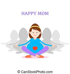 Pregnant woman, Happy mom concept, meditation and yoga for pregnancy