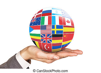 Many flags of different countries - Many flags collage ball...