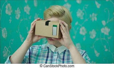 Young Woman Is Happy in Virtual Reality Glasses - Young...
