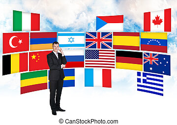 Businessman and different countries flags - Businessman...