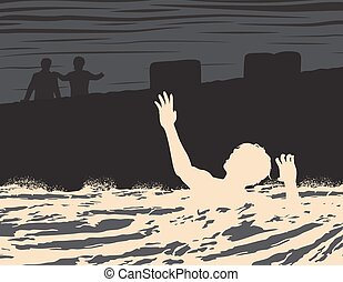 Drowning man - EPS8 editable vector illustration of a...