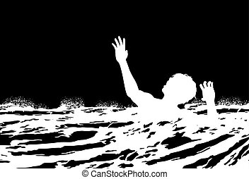 Man drowning - EPS8 editable vector illustration of a man...