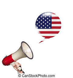 Megaphone speak foreign language with american flag bubble