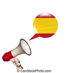Megaphone speak foreign language with spanish flag bubble