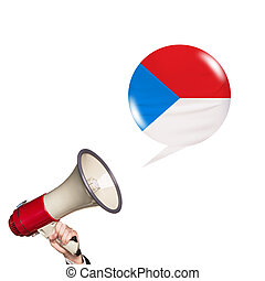 Megaphone speak foreign language with czech flag bubble