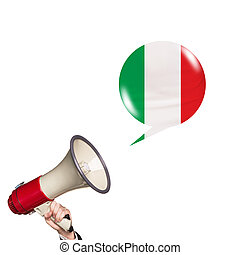 Megaphone speak foreign language with italian flag bubble