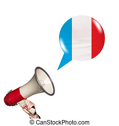 Megaphone speak foreign language with french flag bubble