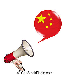 Megaphone speak foreign language with chinese flag bubble