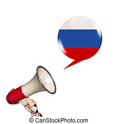 Megaphone speak foreign language with russian flag bubble