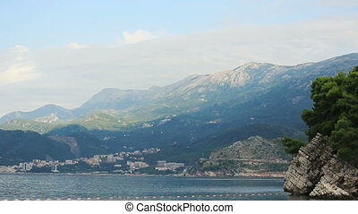 Montenegro, Budva beautiful seascape with cloudy sky and...