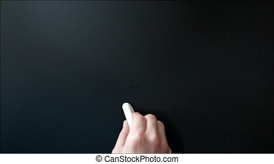 Drawing Lighting Lamp on Chalkboard. Idea Concept - Someone...