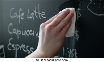 Changing Prices in Coffeehouse Menu on the Chalkboard -...