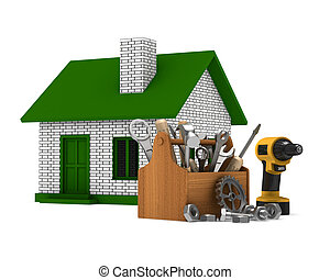 House repair on white background. Isolated 3D image