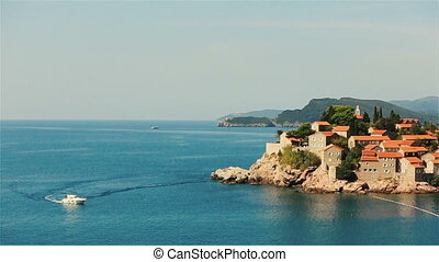 Amazing view of Sveti Stefan in Montenegro, Budva - View of...