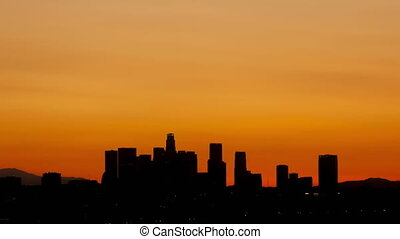 4K Time lapse Los Angeles skyline sunrise - 4K Time lapse...